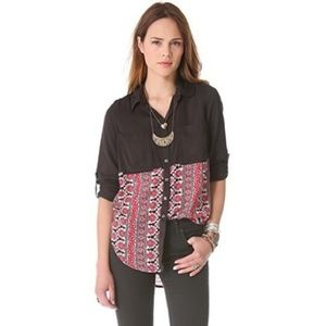 Free People> Black Button Up with Daisy Print